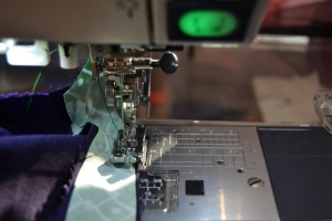 Sewing the bias tape to the seam allowance